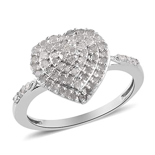 TJC White Diamond Cluster Heart Ring for Womens in Platinum Plated 925 Sterling Silver Size O, TCW 0.53ct.
