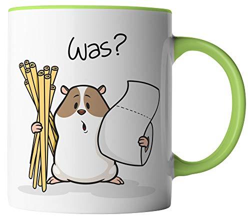 vanVerden Tasse - Hamsterkäufe Klopapier und Nudeln Corona-Virus 2020 COVID-19 - beidseitig Bedruckt - Geschenk Idee Kaffeetassen mit Spruch, Tassenfarbe:Weiß/Grün