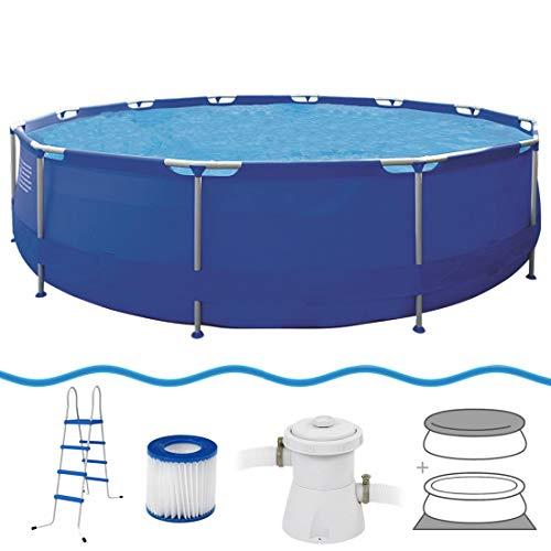 Jilong Sirocco Pool Set Ø540x122cm Schwimmbecken Stahlrahmen mit Pumpe Leiter Abdeckplane Bodenplane