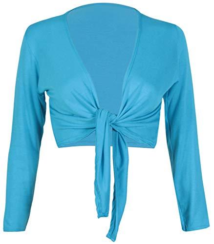 Damen Bolero/Cardigan mit langen Ärmeln, Stretch, kurz, mit Knoten vorne, Gr. 42-56 Gr. 40, türkis