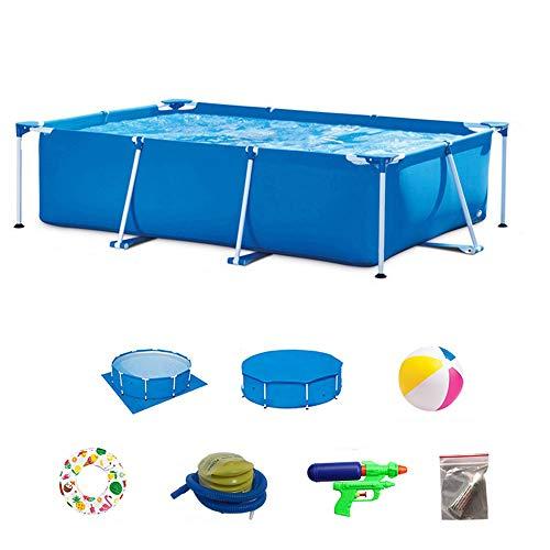 DEAR-JY Frame Piscines,450x220x84CM,PVC de Protection de l'environnement,Piscine à Cadre rectangulaire Bleu,Pataugeoire pour Adultes de Grande capacité pour Enfants intérieurs et extérieurs