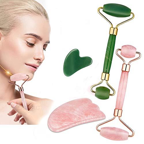 Rodillo de jade de cristal masajeador facial, rodillo de jade natural real para cara, ojo, cuello belleza Jade rodillo facial para adelgazar reafirmante (A)