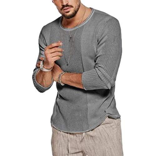 Suéter de Punto de Cuello Redondo para Hombre Color sólido Moda Streetwear Tendencia de Moda Jacquard Jersey Informal Europa y América 3XL