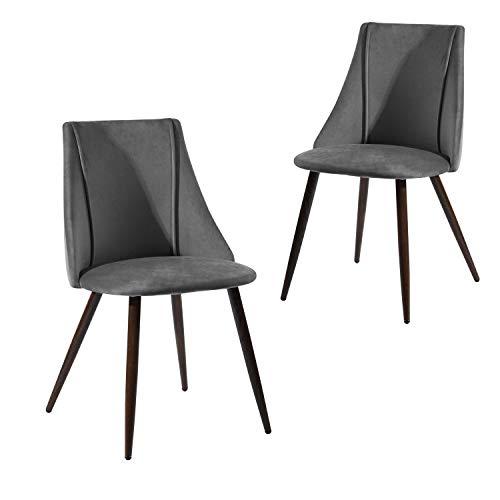 MEUBLE COSY Lot de 2 Chaise de Salle à Manger Moderne Chaise de Cuisine en Velours et Métal, Chaise de Bureau Ergonomique Gris