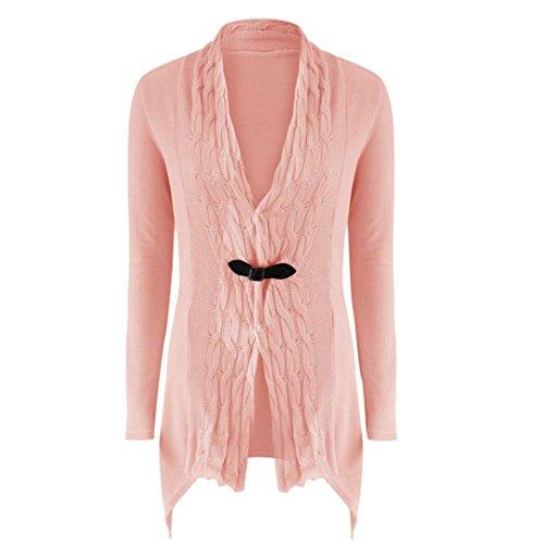 TWIFER Damen Frauen Langarm Pullover Lässige Strickjacke Outwear Kimono (S, Rosa)
