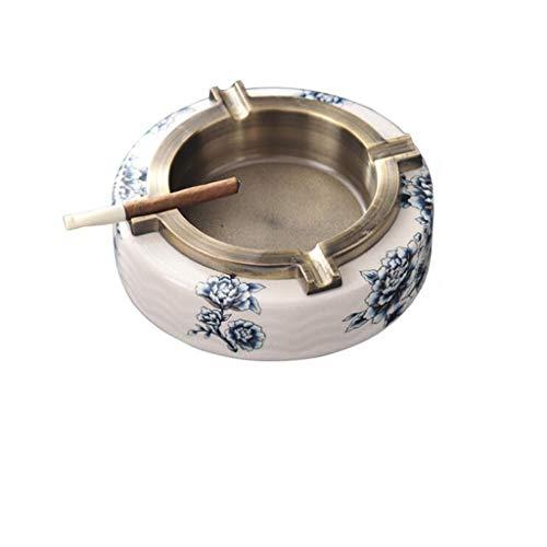 Cenicero Cerámica Creativa de la aleación Cenicero Azul Americano Nuevo Chino y Blanco de Porcelana Cenicero Regalo Interior y Exterior (Color : B)