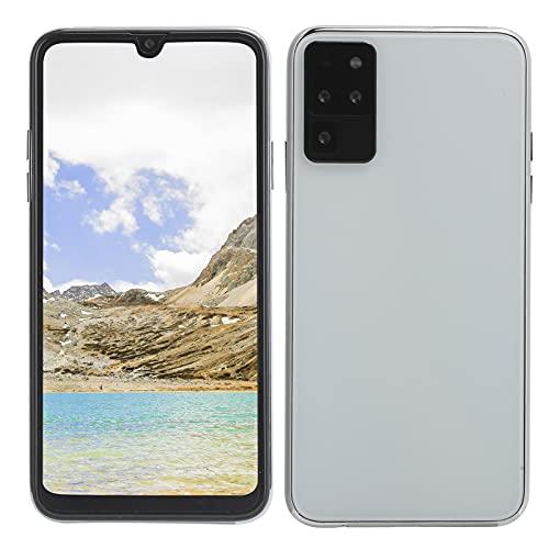 BOLORAMO Smartphone, S20U 6.5in Gota De Agua Pantalla Completa Cámaras Duales Teléfono Móvil Tarjeta Dual Doble Modo De Espera Ranuras para Tarjetas Triples 1.4 + 16G Blanco(Enchufe de la UE)