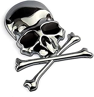 Helen-Box - 7.2x6CM 3D Metal Skull Skeleton Crossbones Car Motorcycle Sticker Truck Label Emblem Badge Car Styling Decoration Accessories