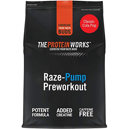 The Protein Works RAZE-Pump Preworkout Powder, Caffeine free, Beta Alanine, Creatine Monohydrate, 2:1:1 BCAAs, Classic Cola pop, 20 Servings, 500 g