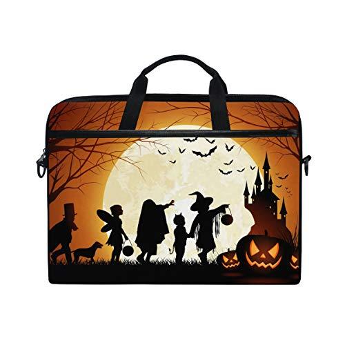 EZIOLY Halloween Pumpkin Full Moon Laptop Shoulder Messenger Bag Case Sleeve for 13 Inch to 14 inch Laptop