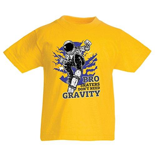 lepni.me T-Shirt für Mädchen und Jungen Pro Skaters Don't Need Gravity Skateboard Sprüche, Skate Leben Zitate Gr. 5-6 Jahre, Mehrfarbiges Gelb.