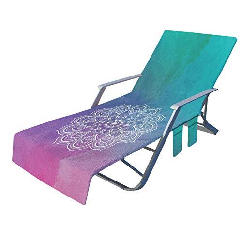 LKR Telo da spiaggia con tasche – Telo da spiaggia antiscivolo per piscina, lettino prendisole hotel, vacanze   accessori, 210 x 73 cm