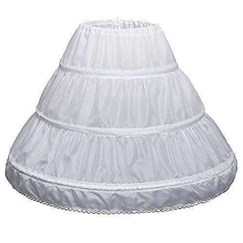 Mädchen Kinder Petticoat A-Linie 3 Reifen Einschichtige Kinder Krinoline Spitzenbesatz Blumenmädchen Kleid Unterrock Verstellbare Taille Für Alter 6-14 Jahre alt.