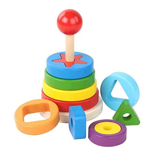 ZOZOSEP Pirámide de Madera de apilamiento Rompecabezas Juguetes de bebé Aprendizaje Temprano emparejamiento percepción del Color del Arco Iris Juguetes de Anillo Stacker Multicolor