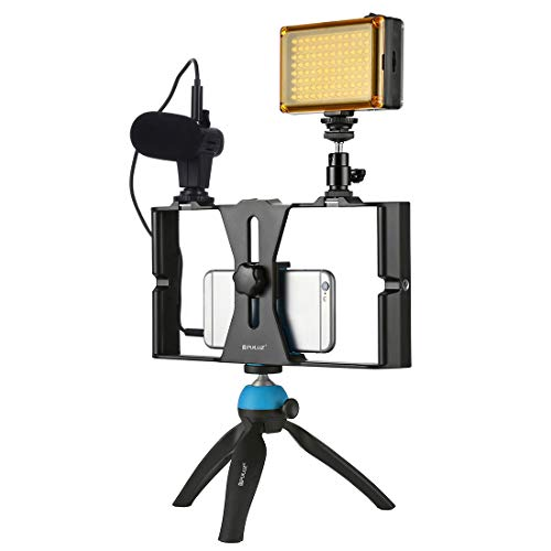 PULUZ PKT3023 Instalación de cine de mano de mano para smartphone + 96 LEDs Luz de estudio LED + Micrófono de video + Mini kits de montaje en trípode con cabezal de trípode para tiro al aire 🔥