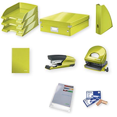 Leitz Home Office set groot, nietmachine, perforator, niet, bewaaraccessoires en kunststof hoezen en geschenkklemmen, groen metallic, WOW, 94800064