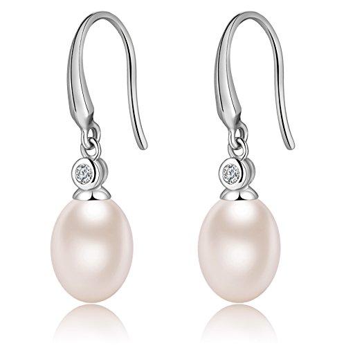 Pearl Earrings Freshwater For Women Sterling Silver Drop Dangle Pearl Earrings