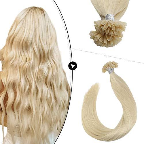 Ugeat U Tip Fusion Hair Extensions Human Hair 24inch Nail Tip Remy Human Hair Extensions 50Strands Prebonded Human Hair 50g #60 Platinum Blonde Stick Tip Hair Extensions