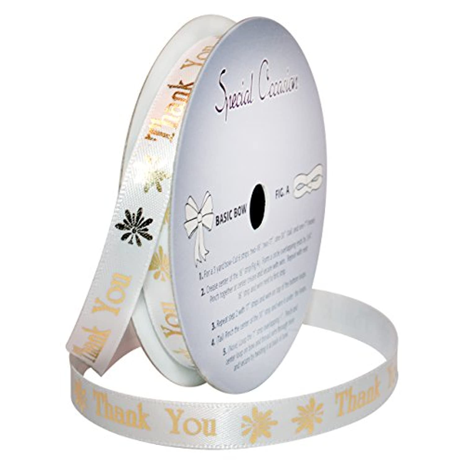 Morex Ribbon Special Occasions Ribbon: Thank You, Polyester, 3/8-Inch by 10-Yard, White/Metallic Gold Print, Item 90202/10-08