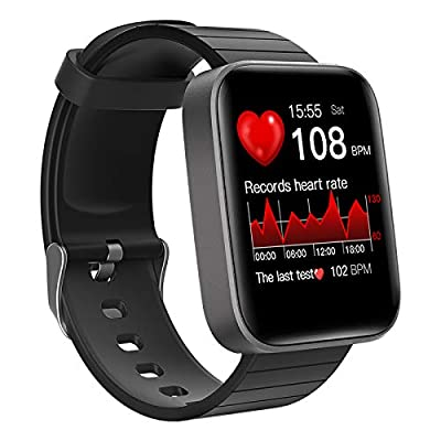 Smart Watch, LCW Fitness Tracker with Heart Rate Monitor, Blood Oxygen Meter, Body Temperature Thermometer, Sleep Tracking, IP67 Waterproof, Step Counter Running Watch for Men Women, Black
