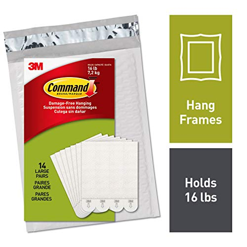 Command PH206-14NA Heavy Duty, Holds 16 lbs Picture Hanging Strips, 14
