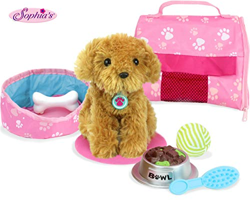 Sophia's Pets for 18' Dolls, Complete Puppy Dog Play Set, Perfect Doll Toy for 18' American Girl Dolls & More! Cuddly Dog, Leash, Carrier, Bed, Food & Play Dog Accessories by