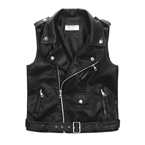 LJYH Children's Faux Leather Motorcycle Vests Boys Joker Dress Coats Black 5/6yrs