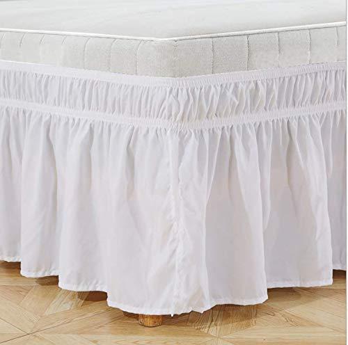 Sxspace Bettrock, gebürstetes Polyester, mit DREI Stoffseiten, elastischer Staub-Rüschen, leicht anzubringen, mit 38,1 cm Länge, Polyester (Weiß, King Size: 60 * 80inch / 150 x 203 cm (152,4 x 203,2)