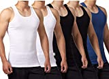 FALARY Camiseta de Tirantes para Hombre Pack de 5 de Algodón 100% más Colores Negro Blanco Azul Marino L