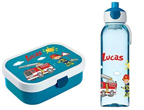 Mein Zwergenland Brotdose Mepal Campus inkl. Bento Box und Gabel + Campus Wasserflasche mit Namen Blau, Feuerwehr