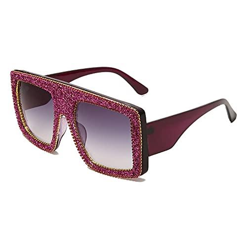 QFSLR Gafas De Sol Cuadradas De Marco Grande Cuadrado De Moda De Lujo Gafas De Sol De Protección UV 100% para Mujer