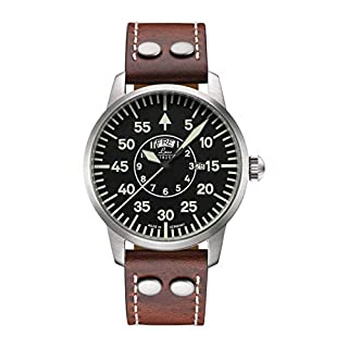 Laco/1925 Men's 861806 Pilot Classic Round Stainless Steel Watch with Brown Leather Strap (B00BGMLN3E) | Amazon price tracker / tracking, Amazon price history charts, Amazon price watches, Amazon price drop alerts