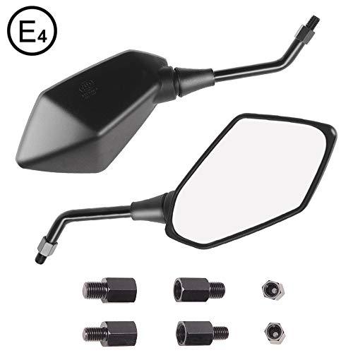Evermotor Universal Motorrad Rückspiegel Spiegel Set E-MARK E-geprüft 2x M10 Rechtsgewinde, 2x M8 Rechtsgewinde + 1x M10 Linksgewinde, 1x M8 Linksgewinde Quad Roller ATV Moped