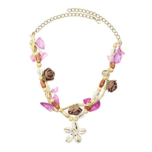 ABOOFAN Collar de Concha Hawaiana Collar de Cadena Floral de Verano Joyería de Cuello de Concha de Mar Bohemio Gargantilla de Cuello de Flores para Mujeres Niñas Hawaianas Fiesta Cuello