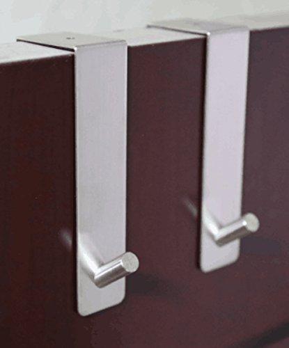 Togu Türhaken, 304er-Edelstahl, robust, organisiert Jacken / Handtücher / Kleidung / Blumenkranz, geeignet für 2,5 – 4,6cm dicke Türen und 0,1cm dicker Spalt des Tür-Rahmens, gebürstet, 2 Stück