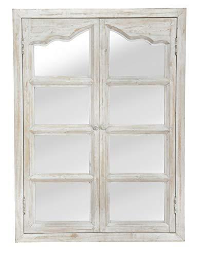 elbmöbel Wandspiegel weiß aus Holz mit Fensterladen Spiegel (86x63)