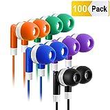 Bulk Earbuds Headphones 100 Pack Earphones- Keewonda Wholesale Classroom Ear Buds Kids Bulk Headphones Mixed 5 Assorted Colors Earbuds for Schools, Libraries, Hospitals (Mixed-Color)