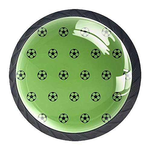 Juego de 4 pomos para gabinete de cocina de ABS estilo Mord, diseño de fútbol deportivo, color verde, con asas de cajones