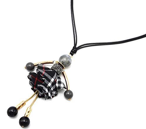 Oh My Shop CL2360F Halskette mit Anhänger Puppe Kleid Strass und schottischer Stoff, Schwarz