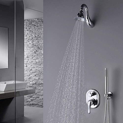 OutingStarcase All-europea del cobre oculta grifo de la ducha empotrar en la pared caliente y frío grifo de la ducha Set de ducha de lluvia Sistema Hermosa práctica