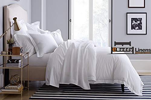 eBeddy Linens - Juego de funda de edredón de algodón egipcio suave y sedoso de 800 hilos, 3 piezas, cierre de cremallera oculta y lazos en las esquinas, duradero y resistente a la decoloración (Full/Queen 228,6 x 228,6 cm), color blanco