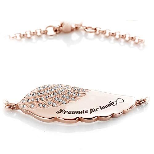 Himmelsflüsterer - Damen Armband mit Gravur und Familien- und Freunde-Spruch | Freundschaftsarmband | Roségold - Freunde für Immer