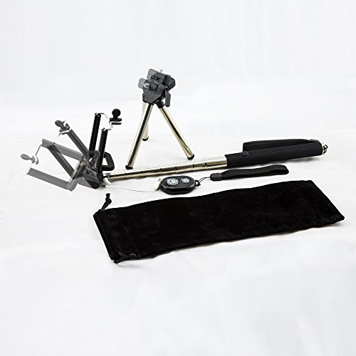 Best Selfie Stick Wireless and Wired Set, Free Bonus Mini-Tripod - Telescoping for Travel - Carry All in Included Elegant Bag - Get Self Photo or Video From Any Angle - Portable, Lightweight