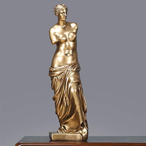 Afairy Estatua de Venus de Milo Mitología Romana Griega Diosa Escultura Estatuilla Hogar o Oficina Decoraciones, Oro (Color : Gold)
