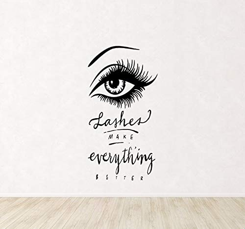 Quote Stickers Lashes & Brows Eye Eyelashes Decal Extensions Eyebrows Beauty Salon Quote Store Decor