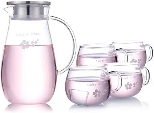 ETDWA 1800 ml Glaskessel-Set mit Edelstahldeckel und 4 Tassen - Leichtes kesselresistentes Borosilikatglas für heißes/kaltes Wasser