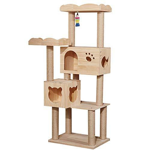 Katze Kletterturm Massivholz-Blatt Umweltfreundlich und ungiftig Baum Cave Cat House Pet Supplies Mehrschichtige Cat Tree House für Medium/Large Cats (Color : Brown, Size : Free Size)