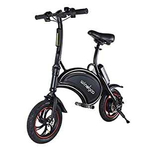 Electric Bikes Windgoo Electric Bike, Foldablke 12 inch 36V E-bike with 6.0Ah Lithium Battery, City Bicycle Max Speed 25 km/h, Disc…
