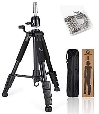 Wig Tripod with Non-Slip Base Adjustable Mannequin Head Stand with Hook Heavy Duty Manikin Head Holder for Cosmetologist Salons Hairdressing Training