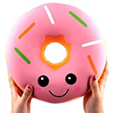 ACCOCO 10' Inch Large Slow Rising Squishy Toys, Giant Donut Jumbo Slow Rising Scented Super Soft Squeeze Squishy Food Toys Stress Relief Gift Collection with Squishy Ball(Pink Donut)